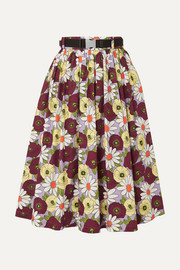 Prada Belted floral-print cotton-poplin skirt