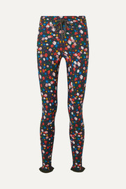The Upside Royal Garden ruffled printed stretch leggings