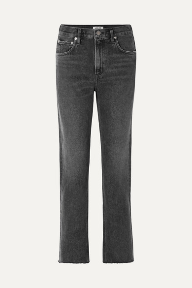 Cherie Distressed High Rise Straight Leg Jeans by Agolde