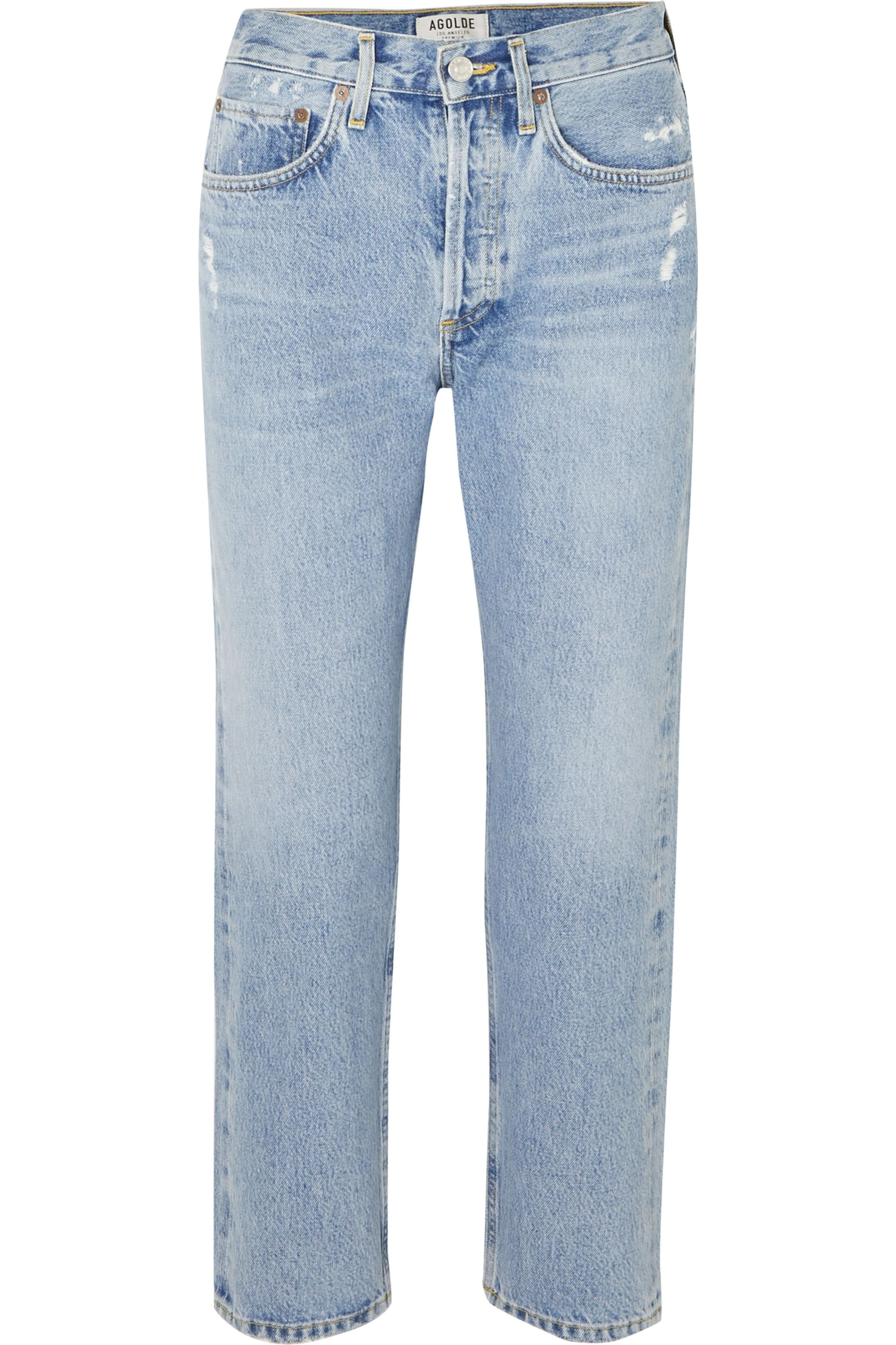 AGOLDE Parker distressed cropped mid-rise straight-leg jeans