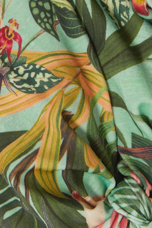 PatBO Paradise off-the-shoulder printed bikini top