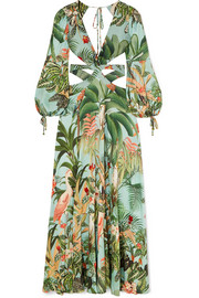 PatBO Paradise cutout embellished printed stretch-crepe maxi dress