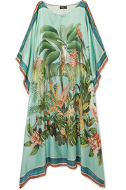 PatBO Paradise printed modal and silk-blend kaftan