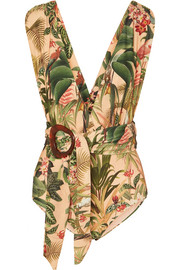 PatBO Paradise belted printed swimsuit
