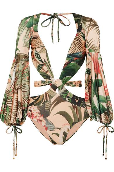 Paradise Printed Cutout Swimsuit