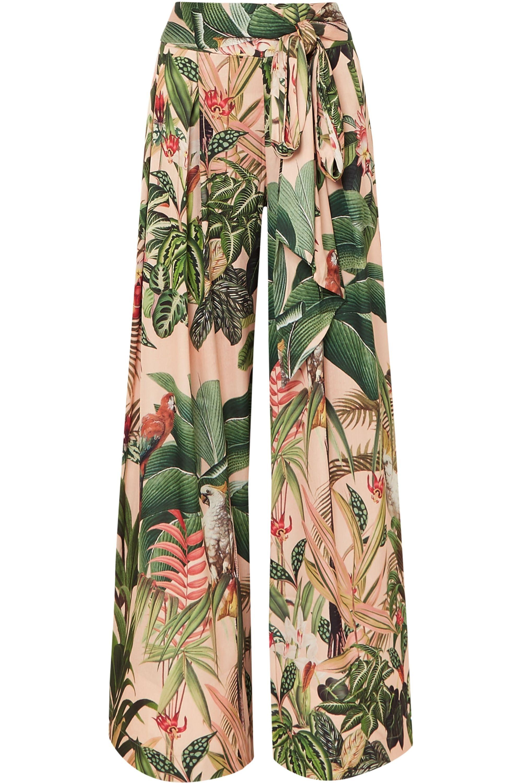 PatBO Paradise printed stretch-crepe wide-leg pants
