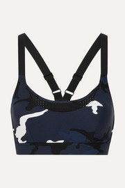 The Upside Kristi camouflage-print cutout stretch sports bra