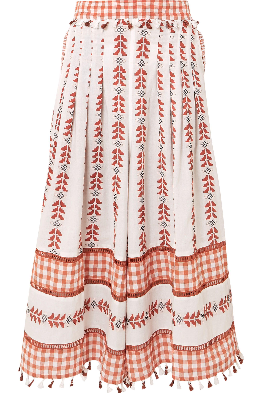 Dodo Bar Or Haylee tasseled cotton-jacquard and poplin wide-leg pants