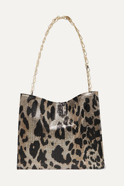 Icon leopard-print chainmail shoulder bag