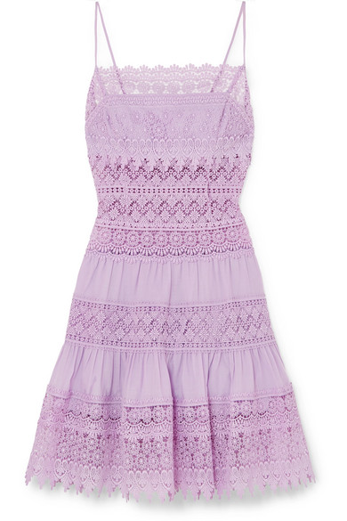 CHARO RUIZ Joya Broderie Anglaise Cotton-Blend Mini Dress in Lilac