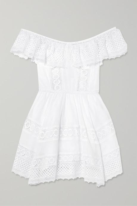 White Vaiana crocheted lace-paneled cotton-blend mini dress    Charo Ruiz WzfADf