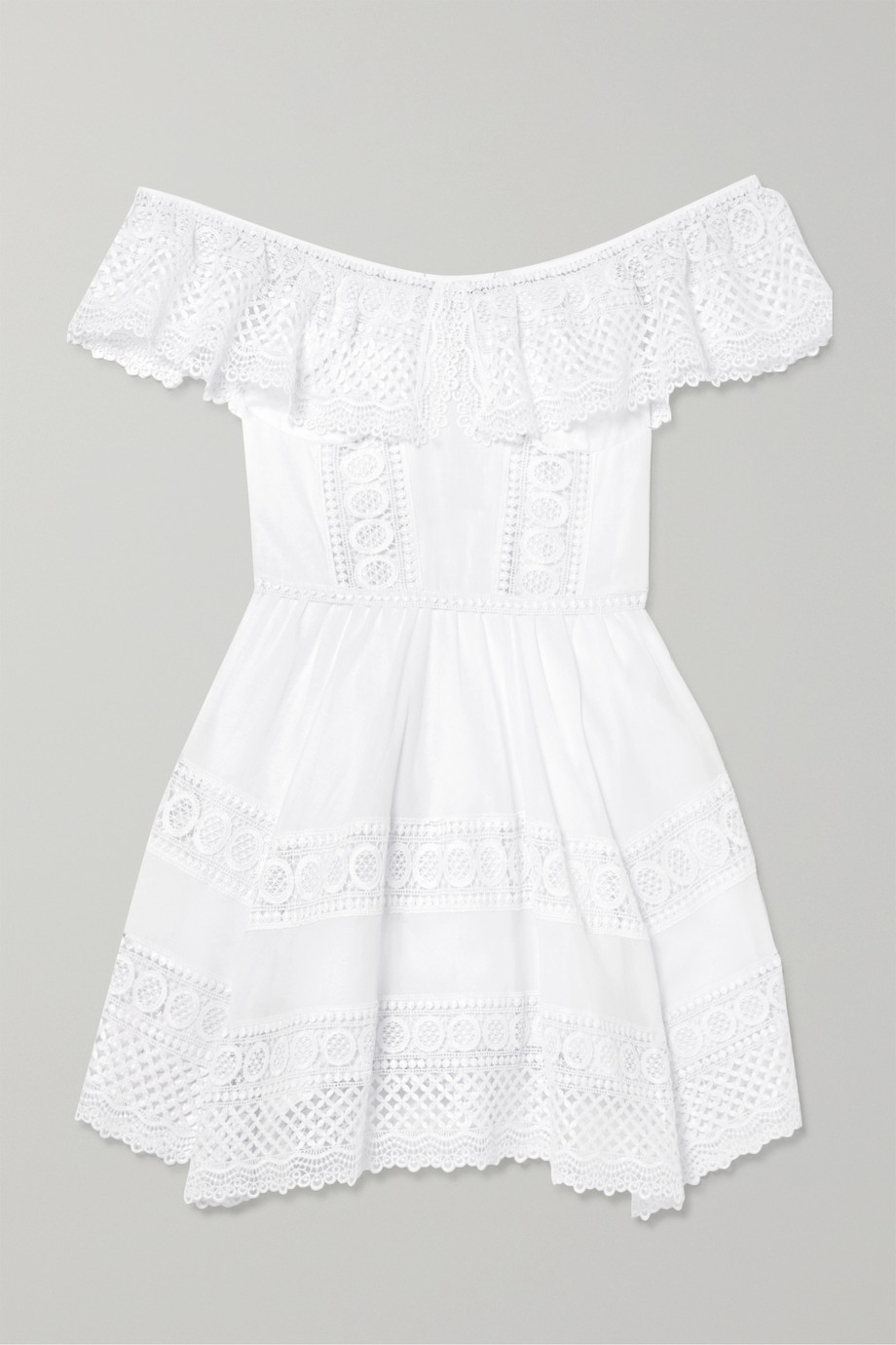 Charo Ruiz Vaiana crocheted lace-paneled cotton-blend mini dress