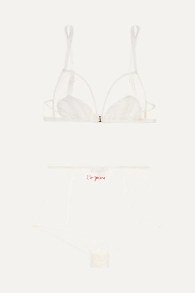 HENRIETTE H | Henriette H - Embroidered Stretch-lace And Cotton-voile Bra And Briefs Set - White | Goxip
