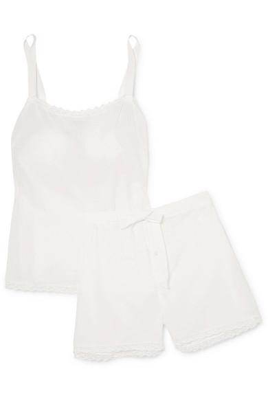 HENRIETTE H | Henriette H - Sleeping Beauty Embroidered Cotton-voile Pajama Set - White | Goxip