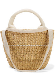 Elisa straw and cotton-canvas tote