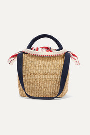 Rita straw and striped cotton-canvas tote