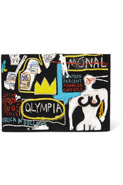 + Basquiat embroidered cotton and wool-blend clutch