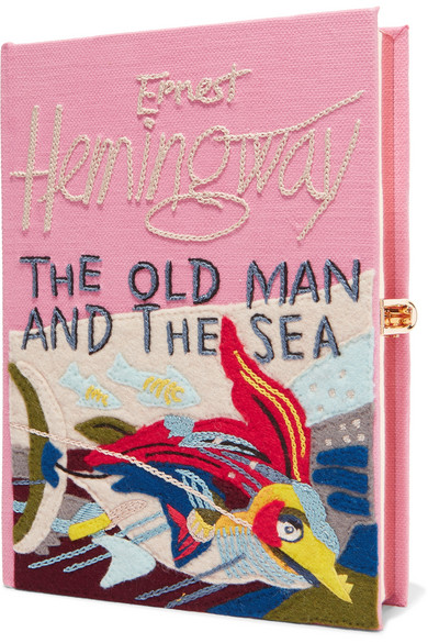 The Old Man And The Sea Appliquéd Embroidered Canvas Clutch in Pink