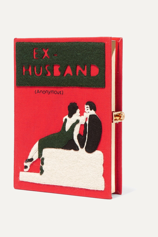 Olympia Le-Tan Ex-Husband appliquéd embroidered canvas clutch