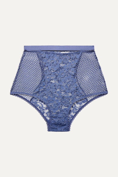 Else Pants PETUNIA STRETCH-MESH AND CORDED LACE BRIEFS