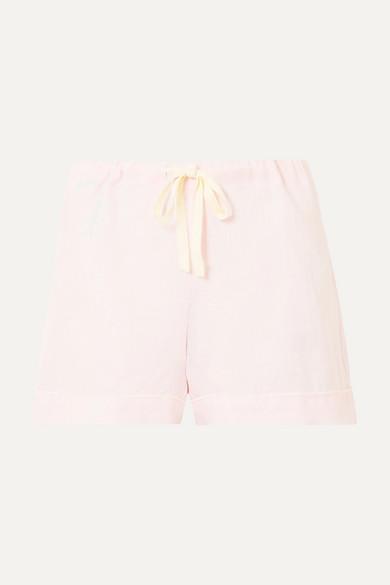 POUR LES FEMMES | Pour Les Femmes - Linen Pajama Shorts - Pastel pink | Goxip