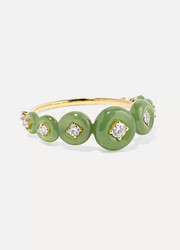 Surround 18-karat gold, nephrite jade and diamond ring