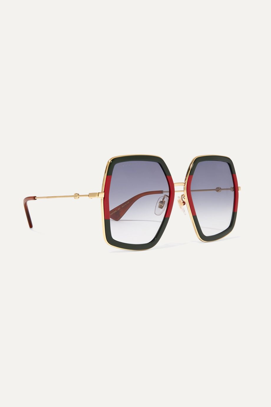 Gucci Square-frame striped acetate and gold-tone sunglasses