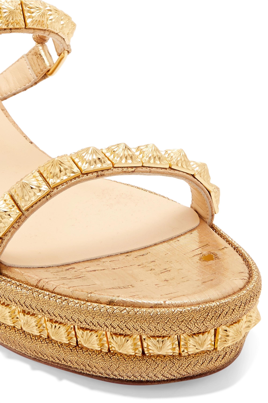 Christian Louboutin Pyradiams 60 spiked lamé wedge sandals