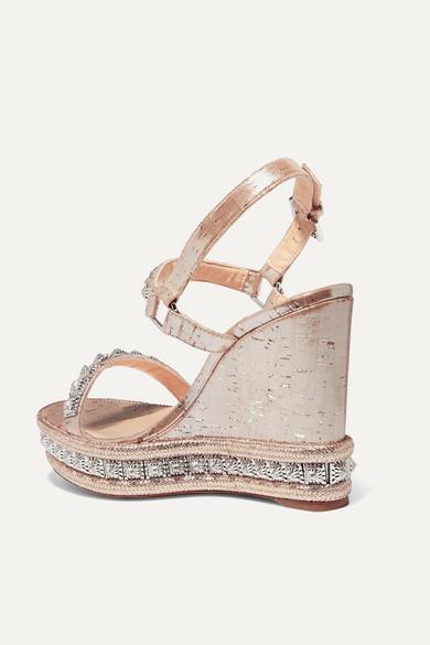 c9245cf2e8e Christian Louboutin   Pyradiams 110 spiked lamé wedge sandals   NET ...