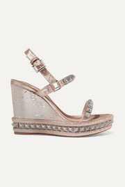 Pyradiams 110 spiked lamé wedge sandals