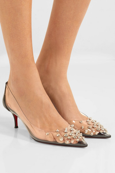 10f662a40ca Christian Louboutin | Collaclou 55 spiked PVC and patent-leather ...