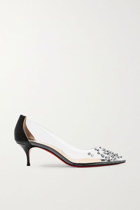 Black Collaclou 55 spiked PVC and patent-leather pumps | Christian Louboutin rla08l