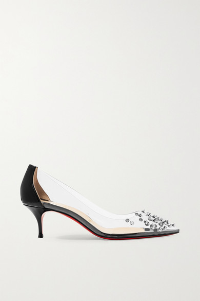 2e89a9ef345 Collaclou 55 spiked PVC and patent-leather pumps