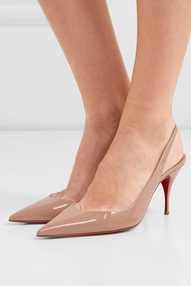 cb2f9b82838 Christian Louboutin | Clare 80 patent-leather slingback pumps | NET ...