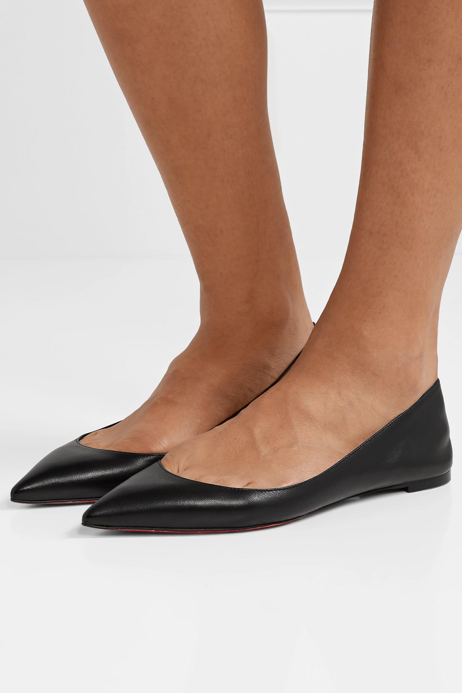Black Ballalla leather point-toe flats