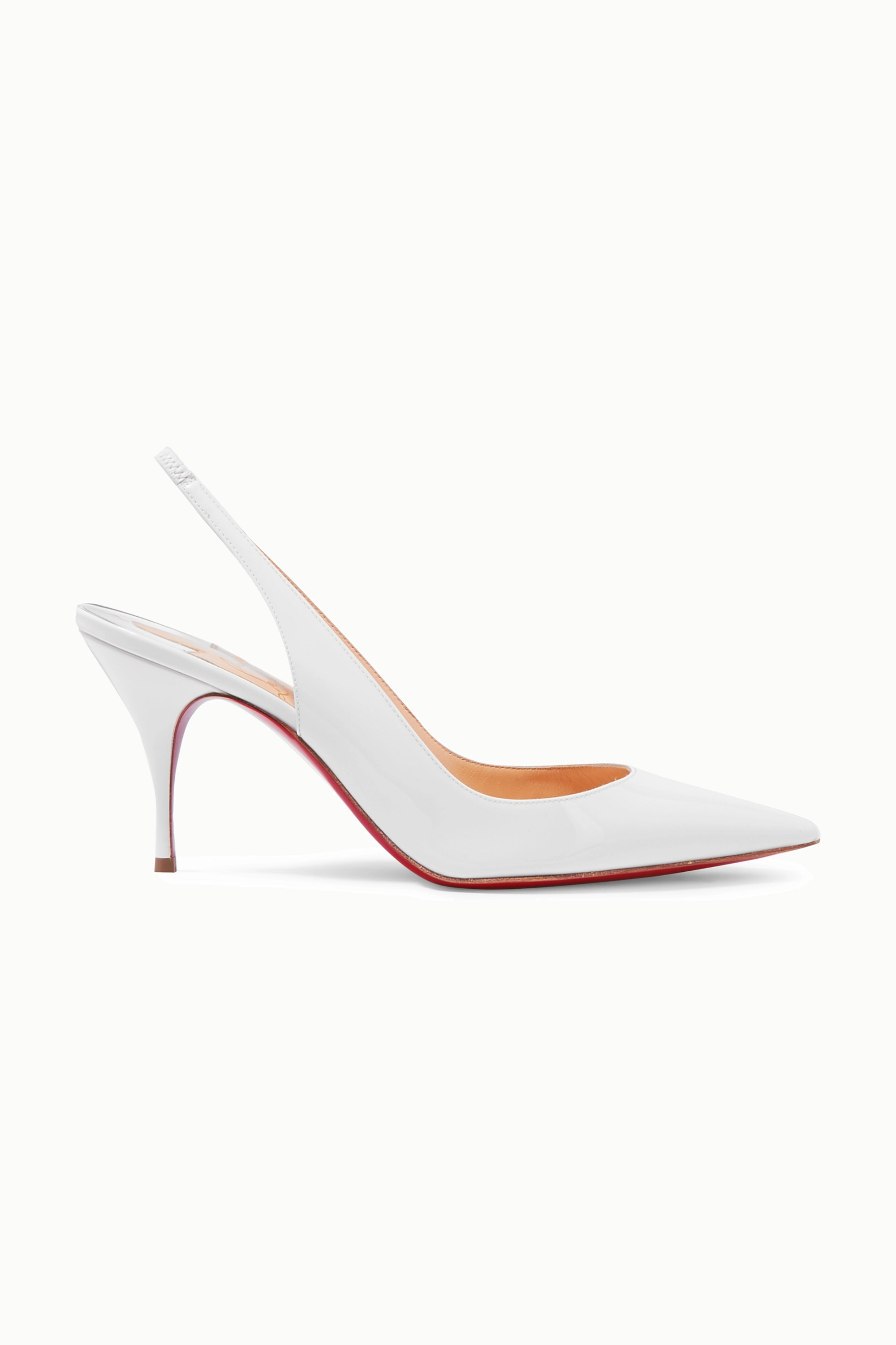 White Clare 80 patent-leather slingback