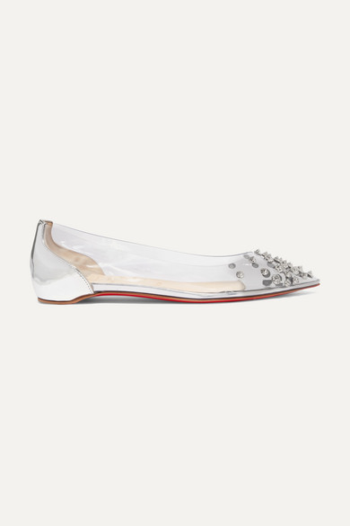 Christian Louboutin Shoes Collaclou spiked PVC and mirrored-leather point-toe flats