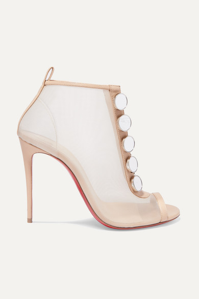 Christian Louboutin Boots Marika 100 leather-trimmed mesh ankle boots