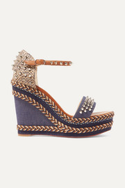 Christian Louboutin Madmonica 110 spiked denim and leather espadrille wedge sandals