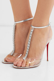 Jamais Assez 100 spiked PVC and metallic leather sandals