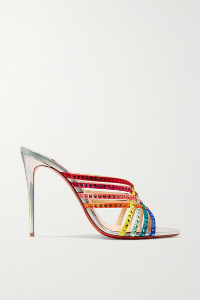 Marthastrass 100 Embellished Silk Satin And Iridescent Leather Mules by Christian Louboutin