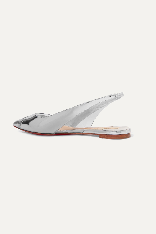 Christian Louboutin Chaussures plates à bouts pointus en cuir métallisé et en PVC à brides V Dec