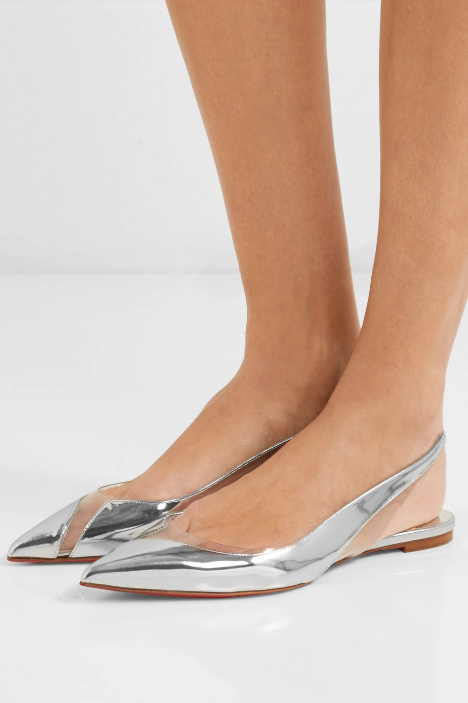 Christian Louboutin V Dec PVC and metallic leather slingback point-toe flats