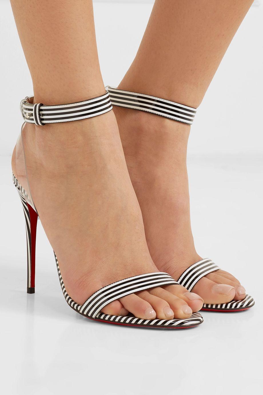 Christian Louboutin Jonatina 100 PVC-trimmed striped patent-leather sandals