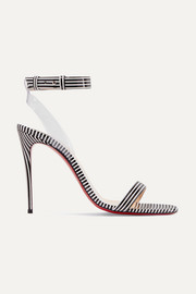 Christian Louboutin Jonatina 100 PVC-trimmed striped patent-leather sandals