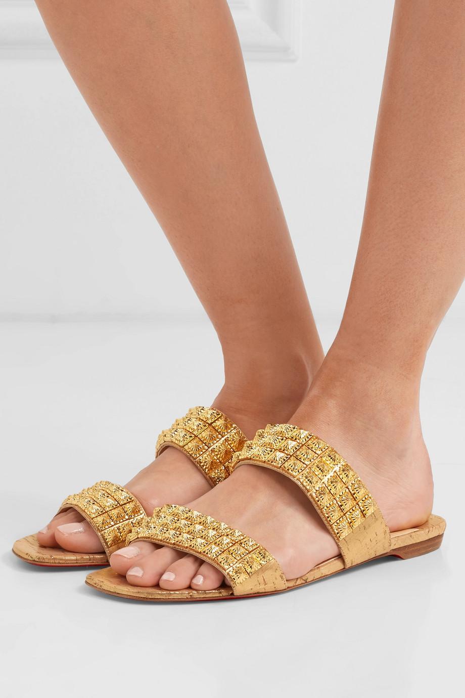 Christian Louboutin Myriadiam spiked lamé-coated cork sandals