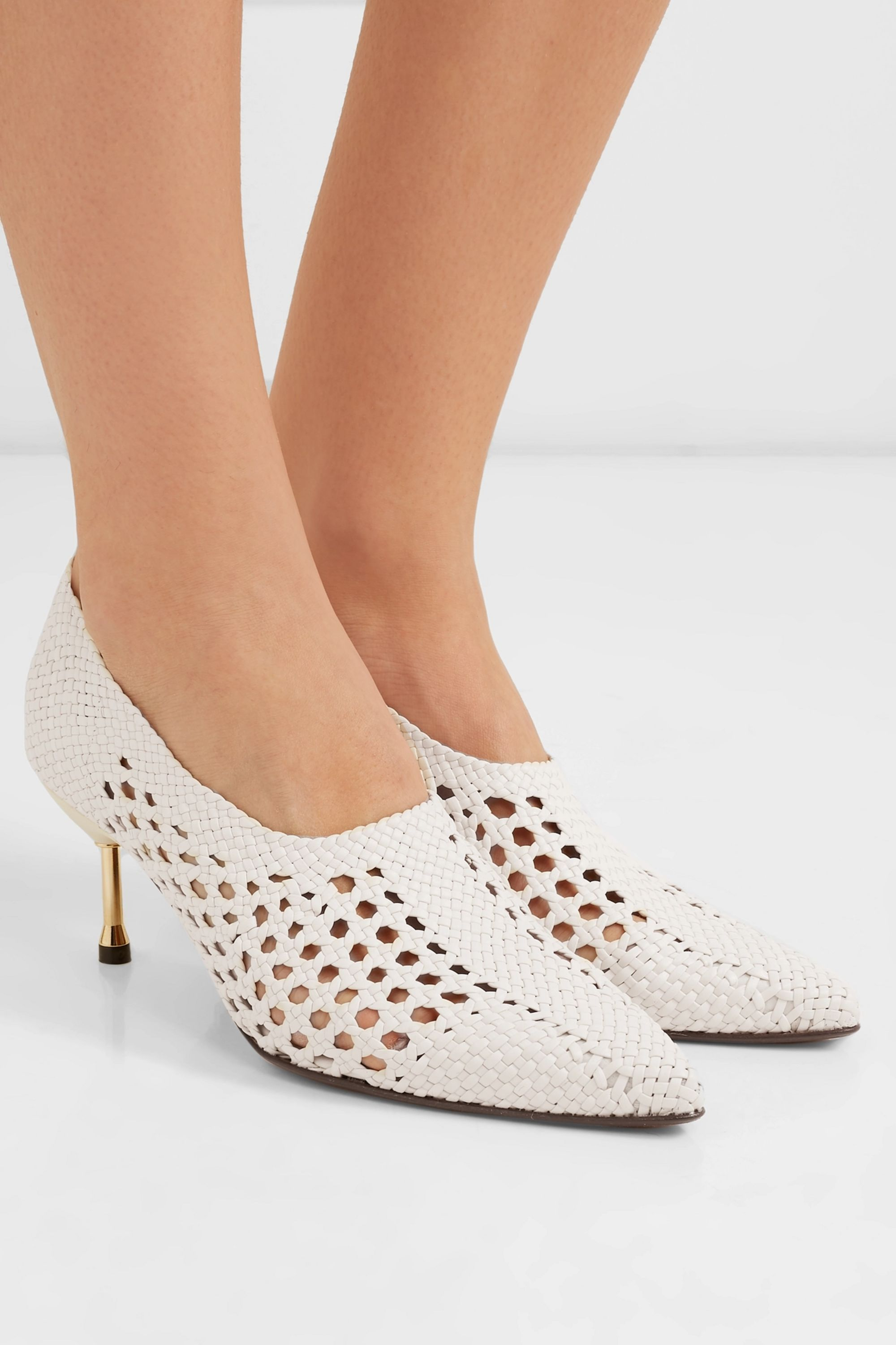 Souliers Martinez Menorca woven leather pumps