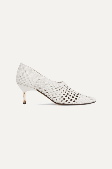 SOULIERS MARTINEZ Menorca Woven Leather Pumps in White