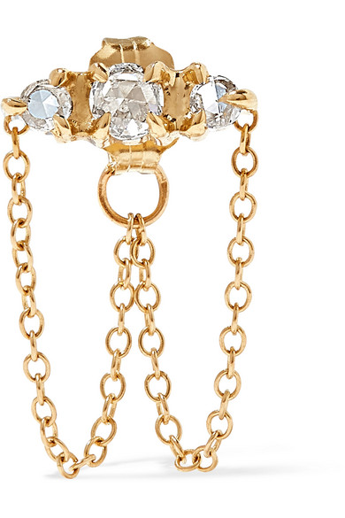 CATBIRD Sleeping Beauty Gold Diamond Earring