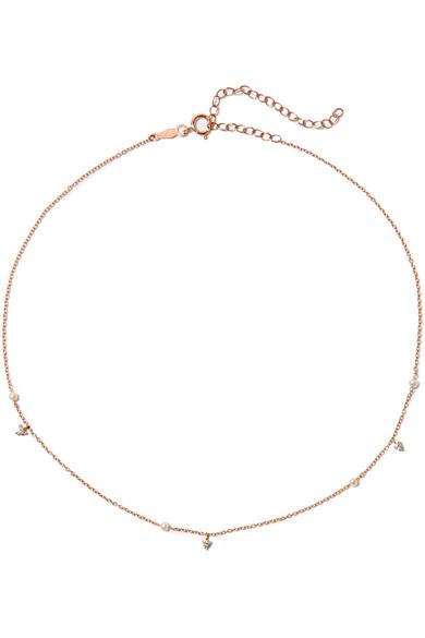 CATBIRD Dew Drop 14-Karat Rose Gold, Pearl And Diamond Choker